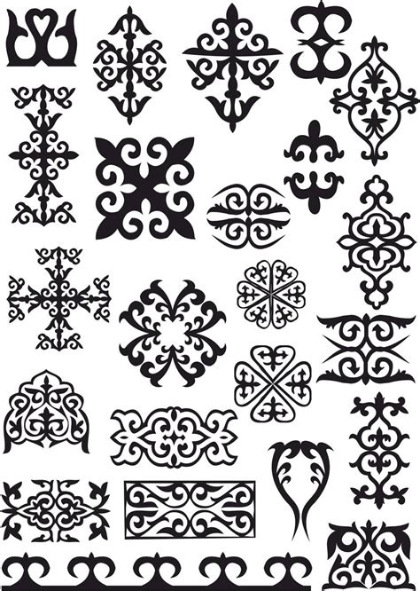Kazakh Ornaments Patterns Free Vector cdr Download - 3axis