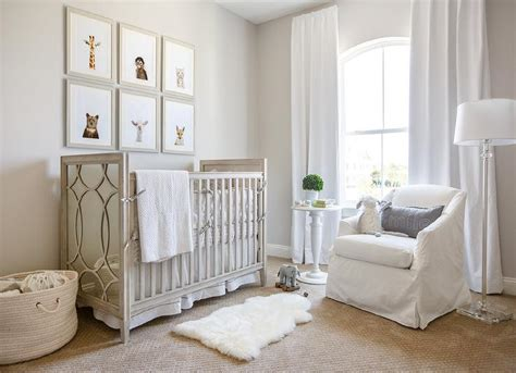 Gray Wood and Mirror Nursery Crib with White and Gray